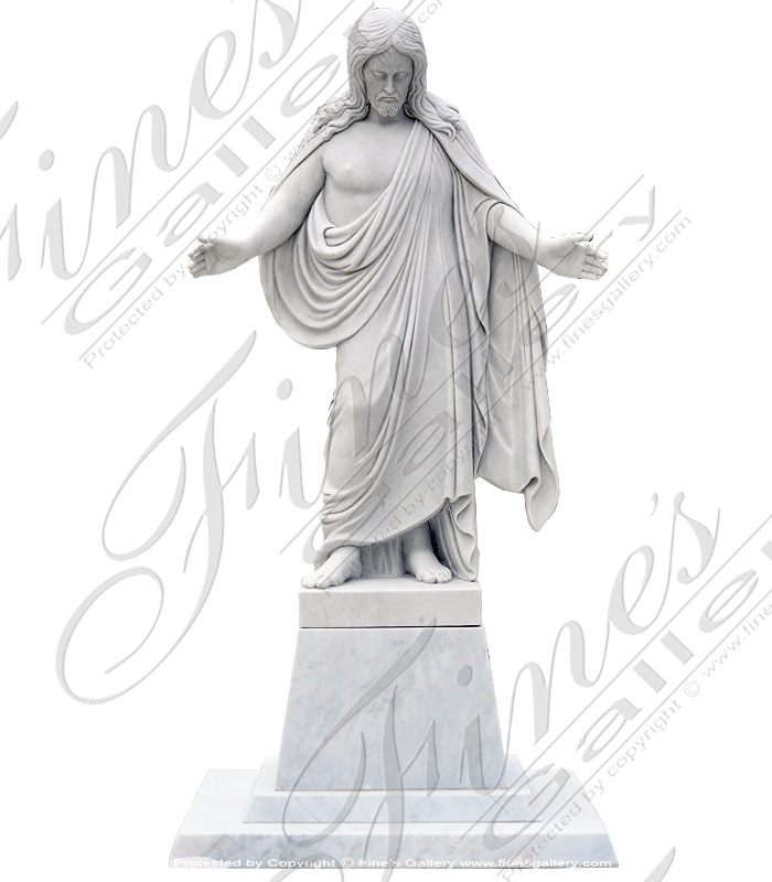 Search Result For Marble Statues  - Marble Sacred Heart Of Jesus Statue - MS-1056
