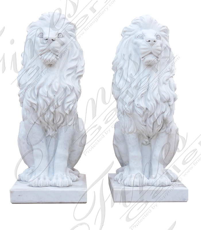Marble Lion Pair
