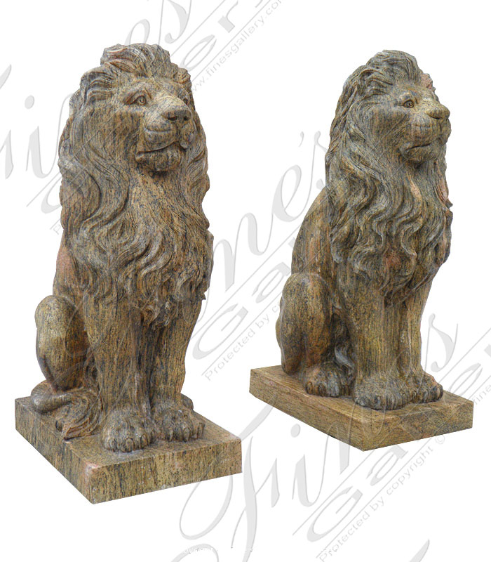 Solid Granite Lion Pair