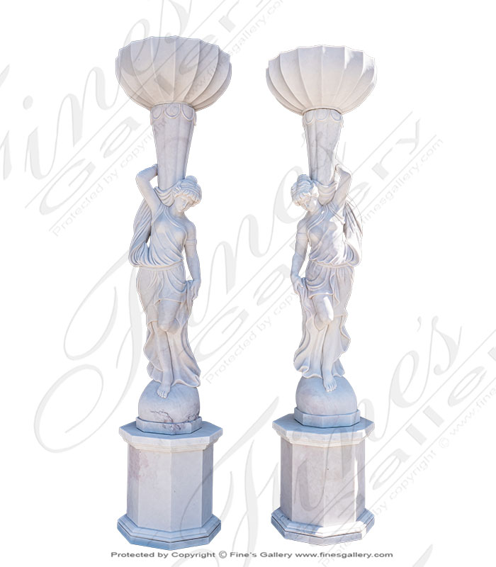 Marble Female Statues with Urns