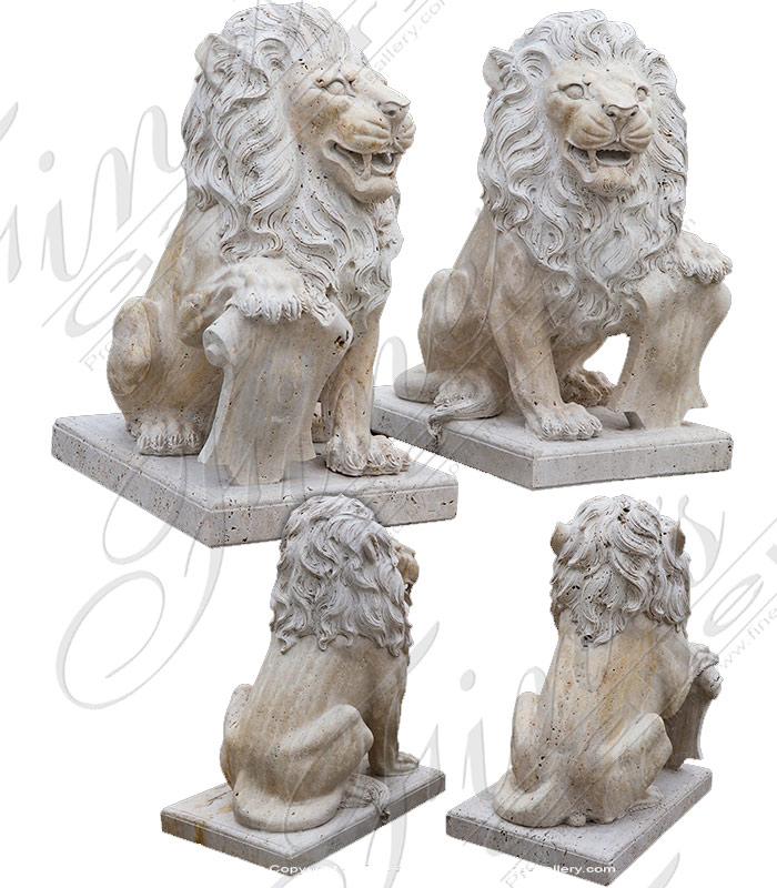 Antique Style Lion Pair