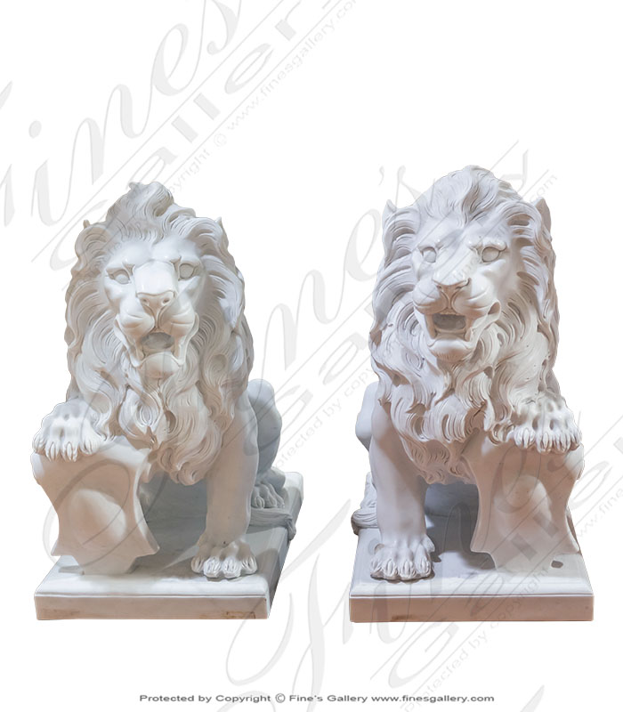 Marble Statues  - Antique Style Marble Lions - MS-1249