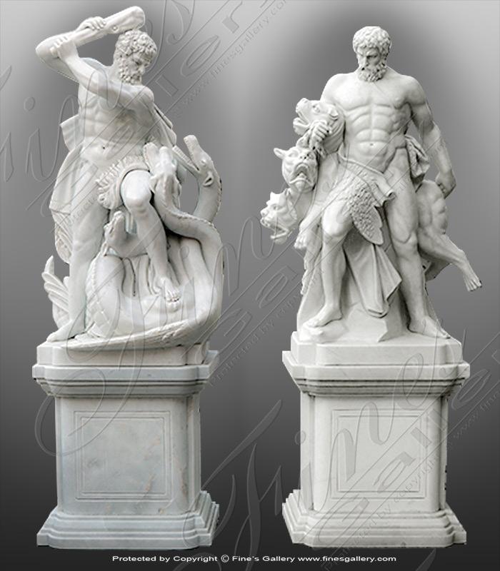 Marble Hercules Statues Pair