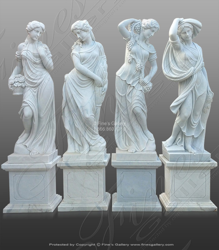Marble Statues  - Pure White Marble Four Seasons - MS-1289