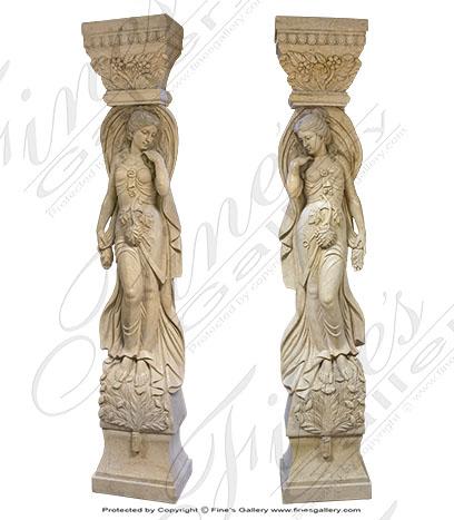Cream Marble Caryatid Columns