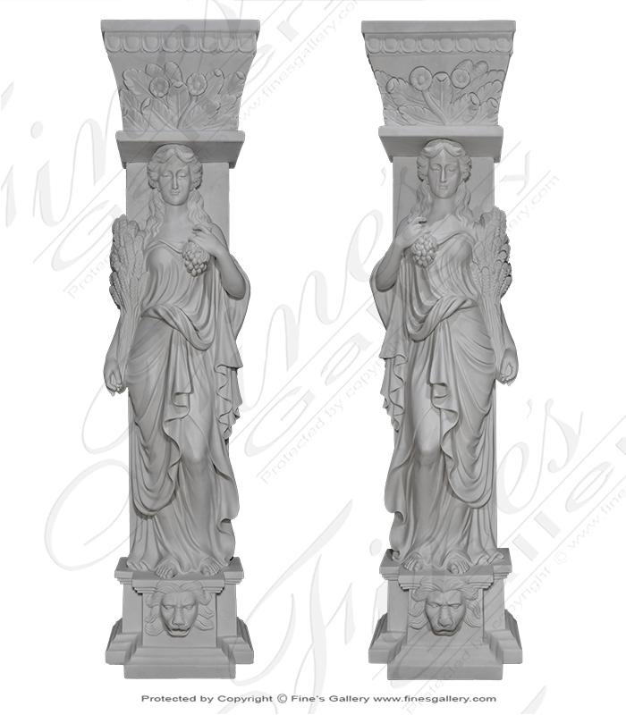 Stunning Grecian Statuary Caryatids