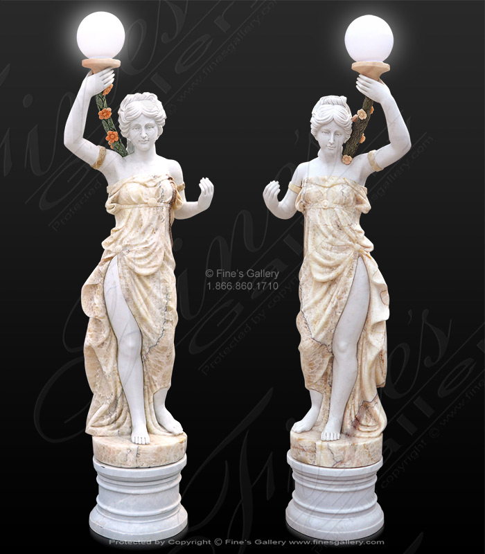 Carved Marble Figural Lamp Pair