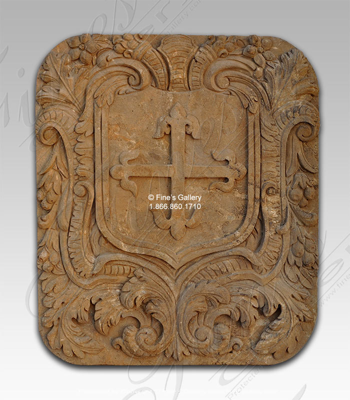 Antiqued Marble Coat of Arms Wall Relief