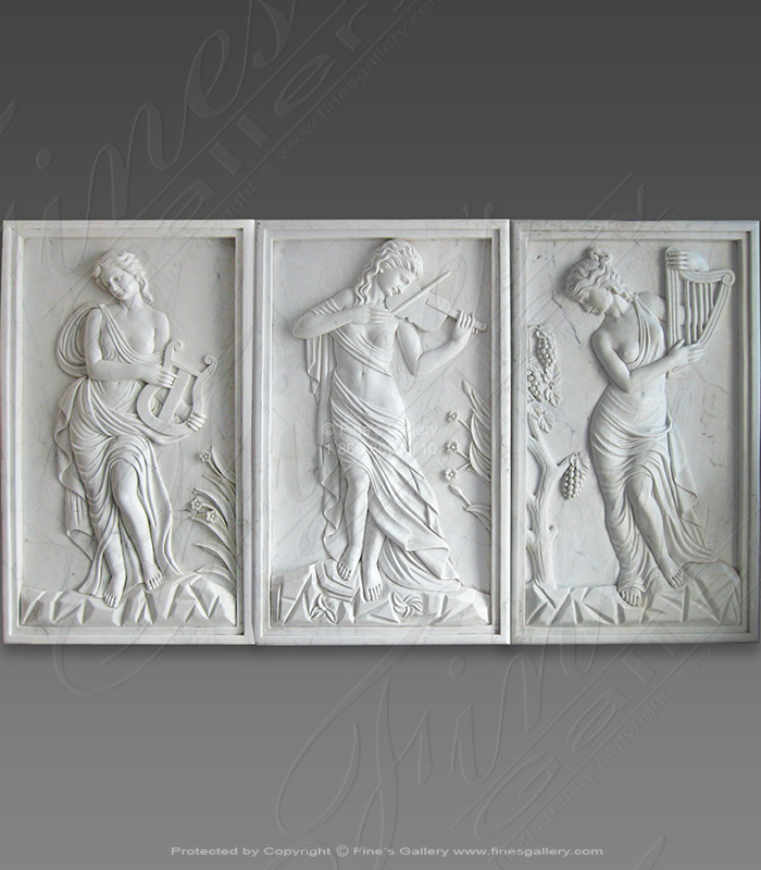 Set of Three Instrumental Ladies Wall Reliefs