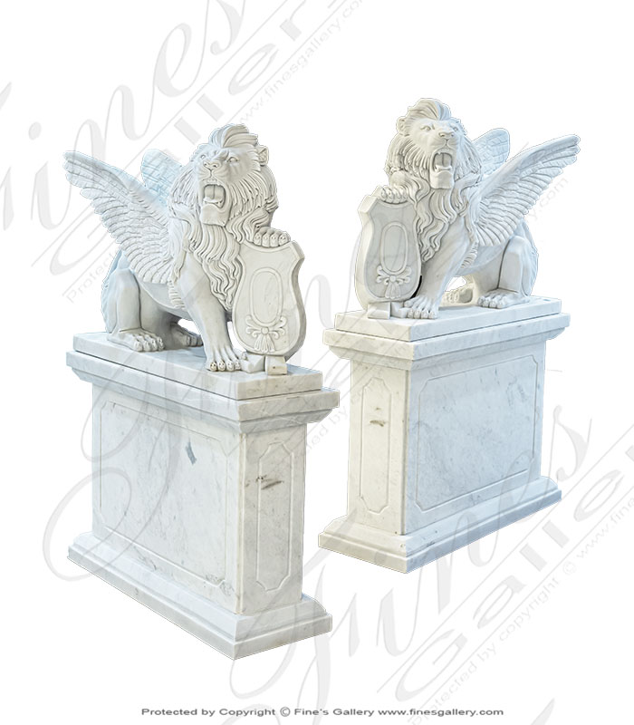 Winged Lion Marble Pair