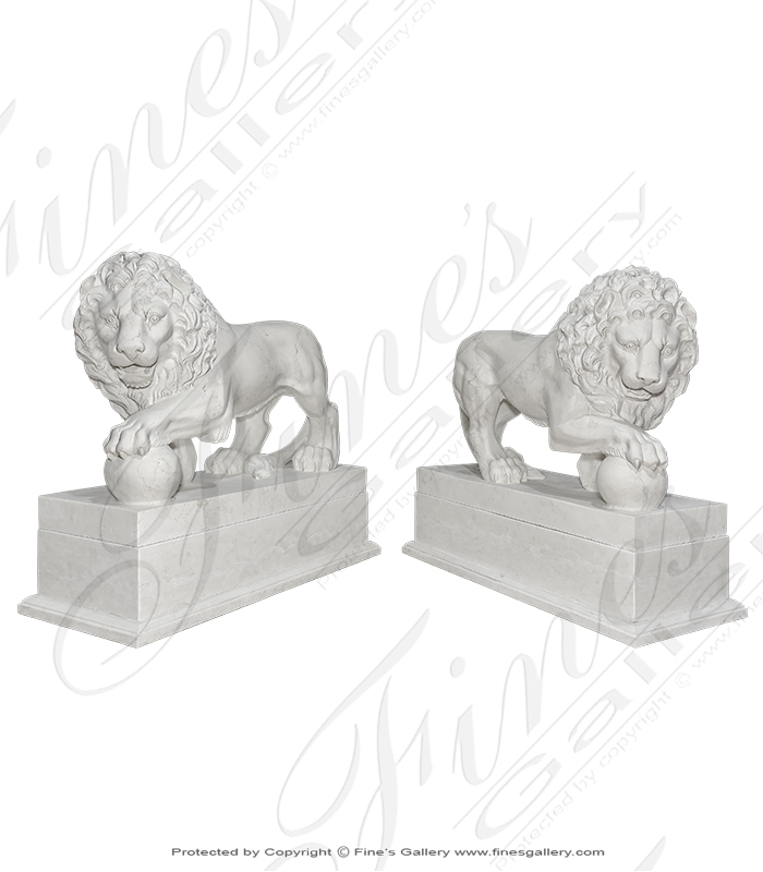 Italian Perlino Marble Lion Pair