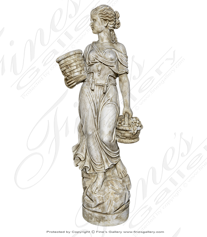 Roman Marble Girl with Basket