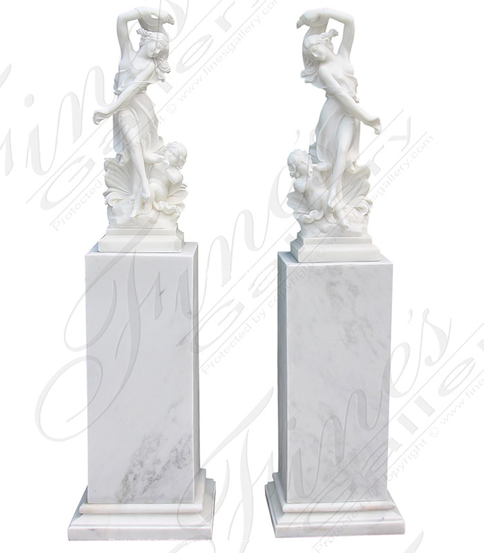 Marble Statues  - Lovely Ladies Carved Marble Statues Pair - MS-1340
