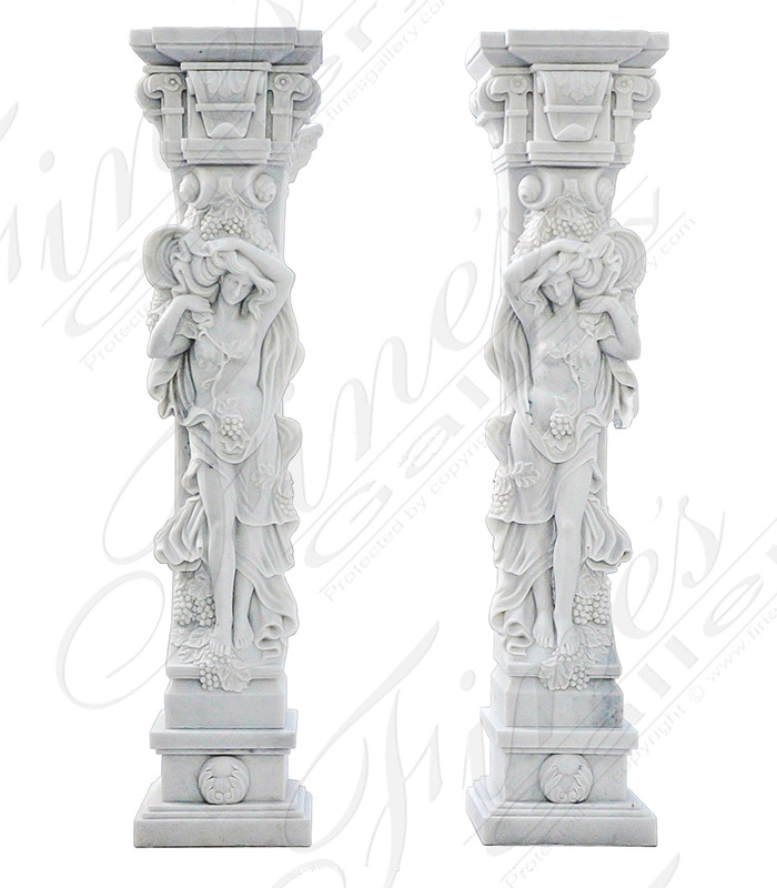 Statuary White Marble Caryatid Statue Pair - 84 Inch