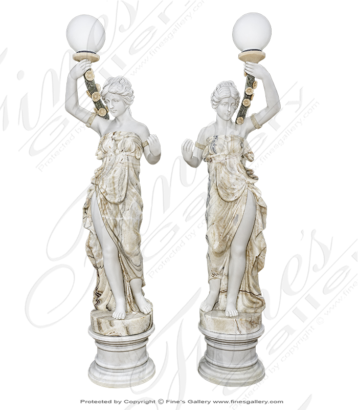 Stunning Multicolor Marble Lamp Post Pair