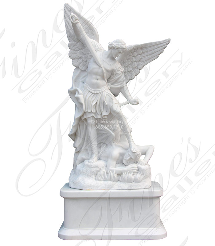 60 Inch St Michael Marble Statue - Includes Pedestal
