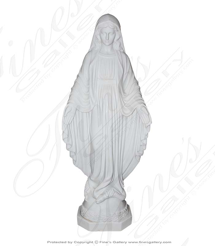 Hand Carved Our Lady Marble Statue - 48 Inch