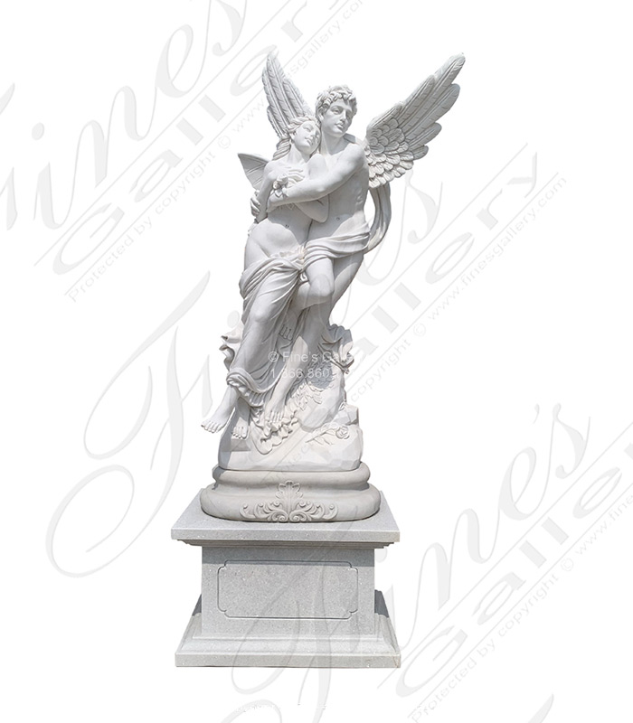 Abduction of Psyche Carved Marble Statue