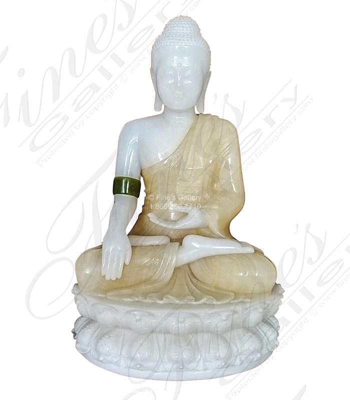 15 Inch Tall carved marble Buddha statue