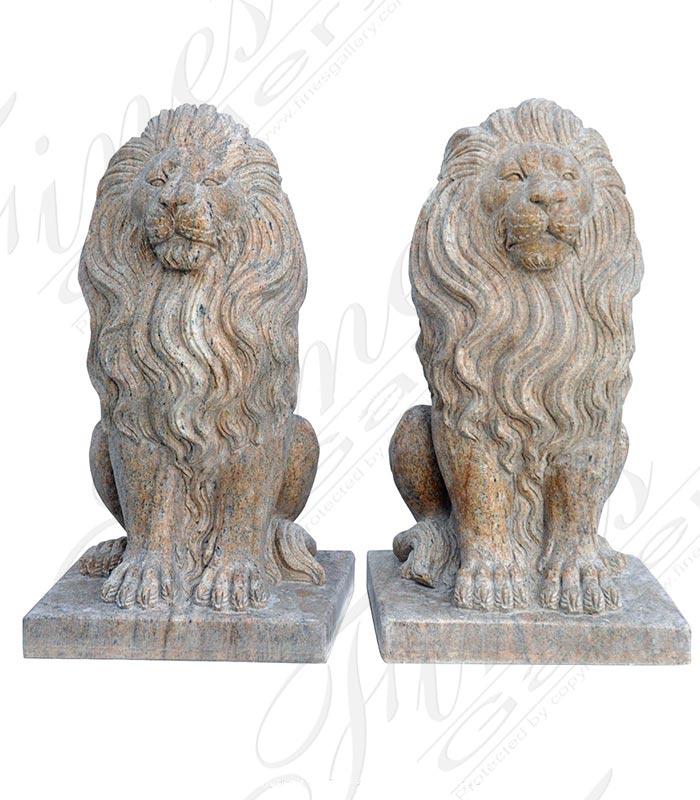 Two Foot Granite Lion Pair