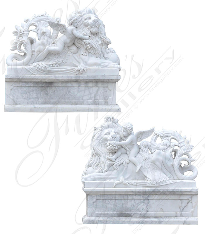 Marble Statues  - Rare Ornate Lions With Playful Cherub Pair - MS-1459