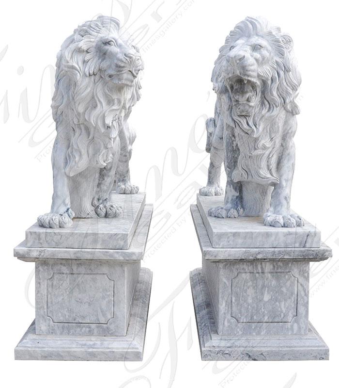 Stunning Carrara Marble Lion Pair with Matching Pedestals