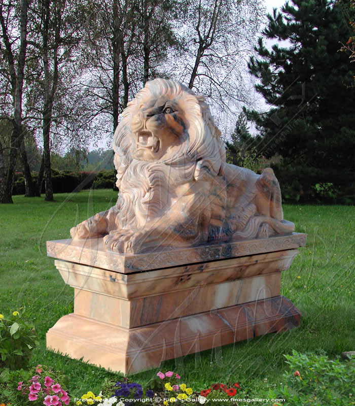 Marble Statues  - Rosetta Marble Lion - MS-417