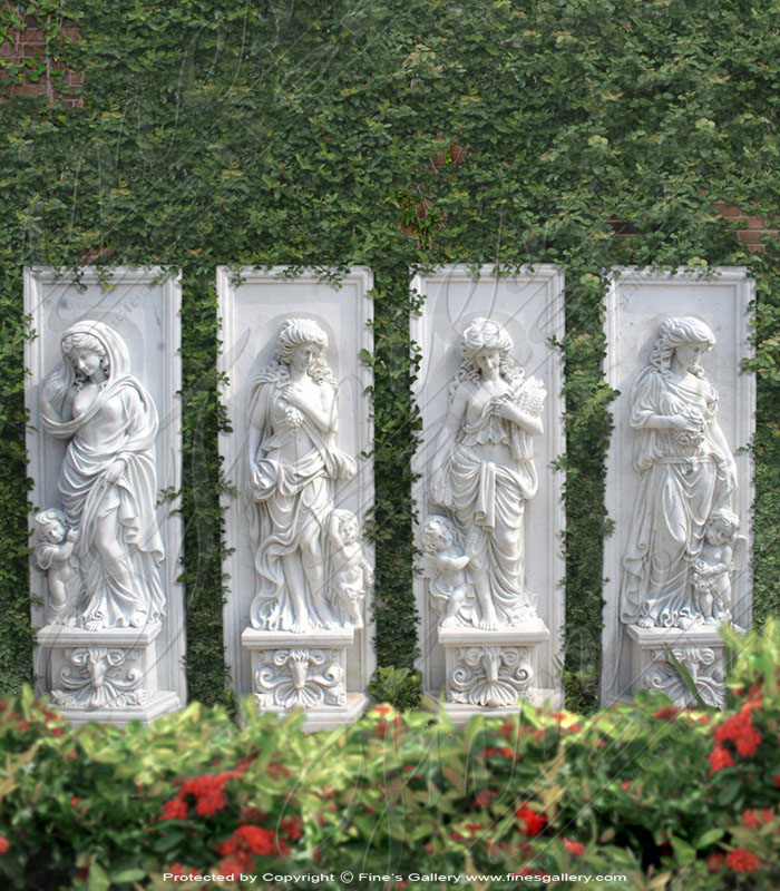Marble Lady Wall Statue Set