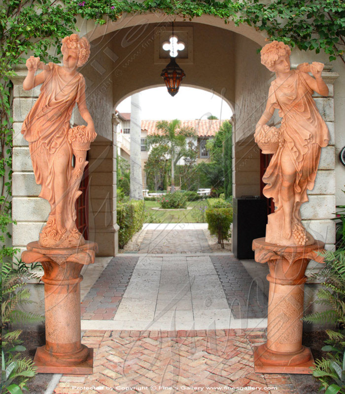 Girl w/Grapes Column Statue