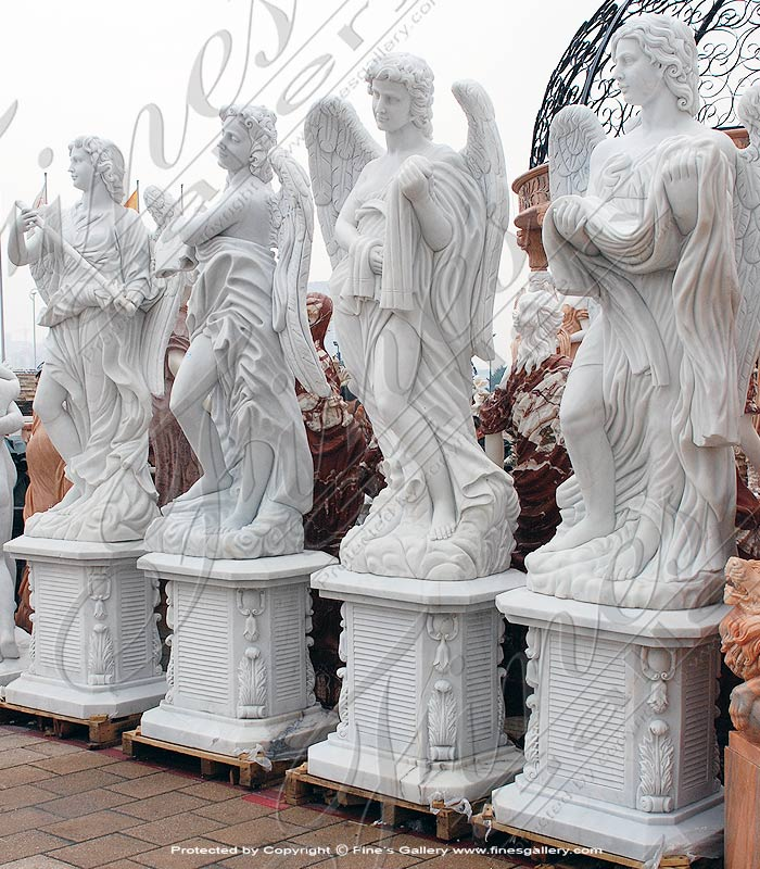 Marble Statues  - Angels White Marble Statue Set - MS-935