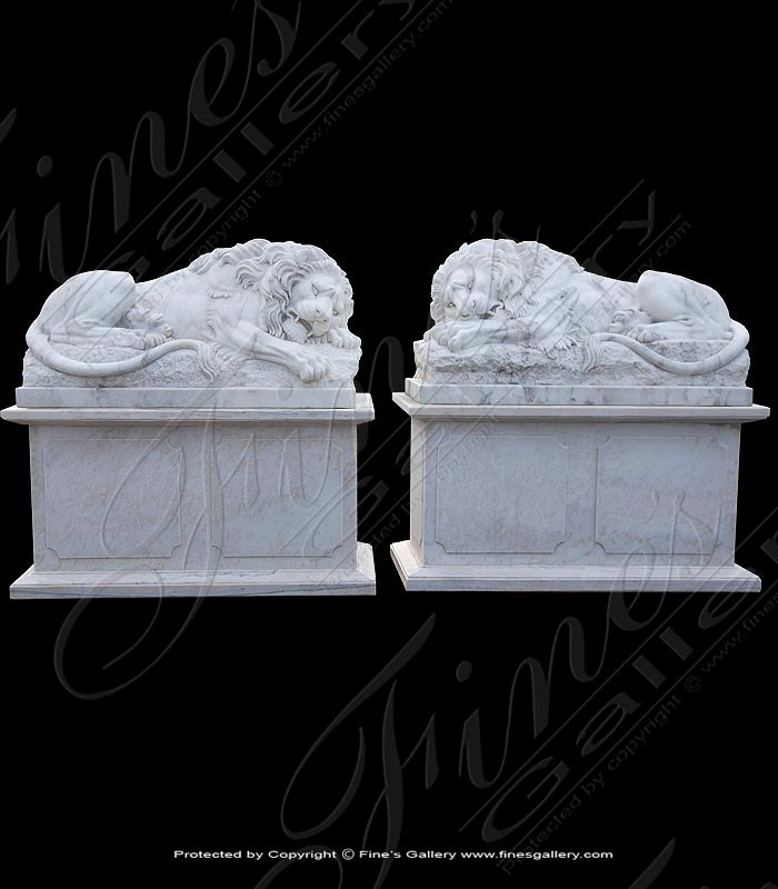 Marble Statues  - Resting Lion Pair - MS-993