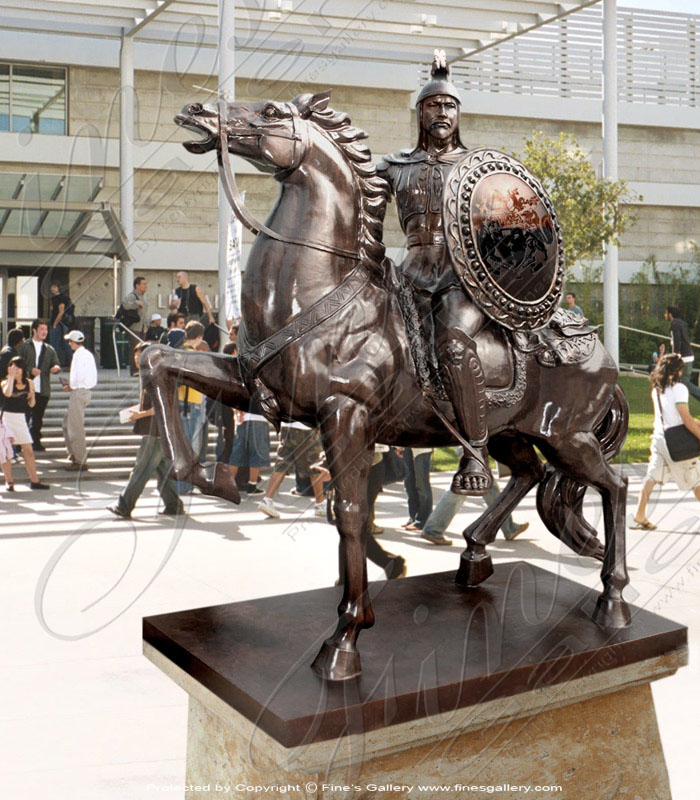 Bronze Warrior on Horse Mascot