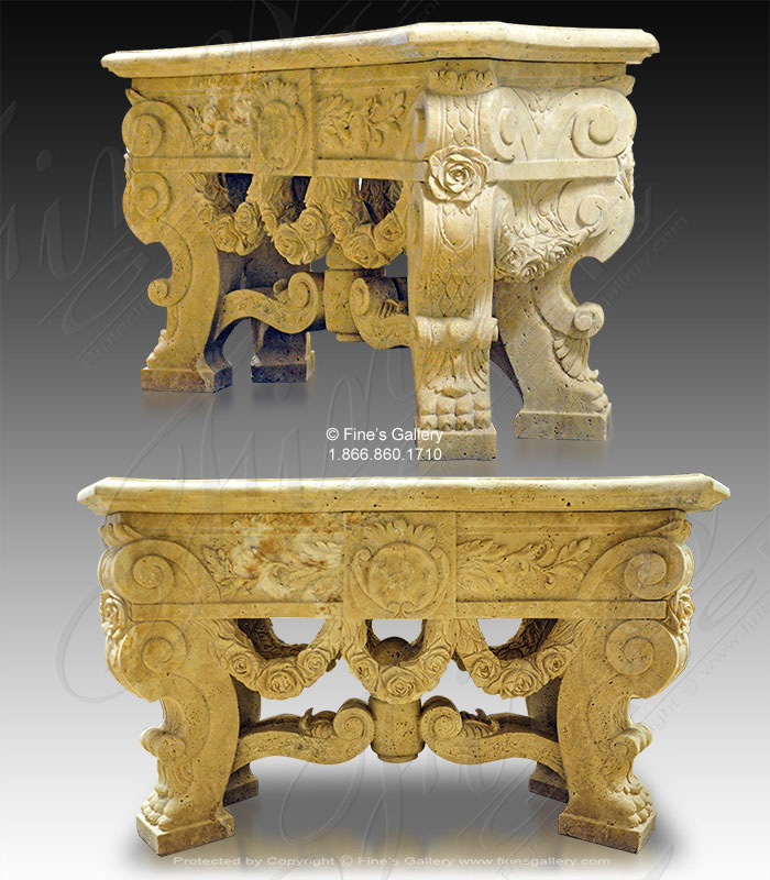 Ornate Travertine Table
