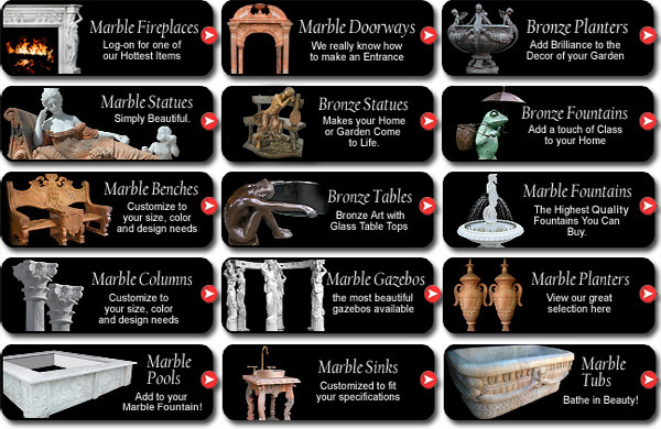 Marble and Bronze Fountains, Fireplaces, Statues and Architectural Design Products